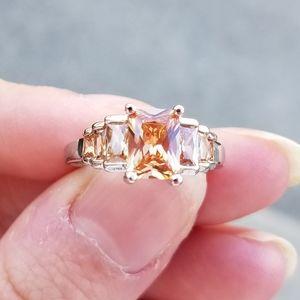925 silver 7 stone morganite ring size 8
